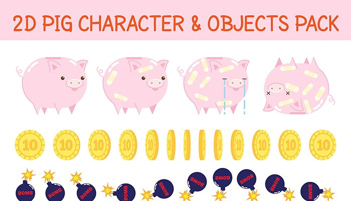2D pig character and objects pack