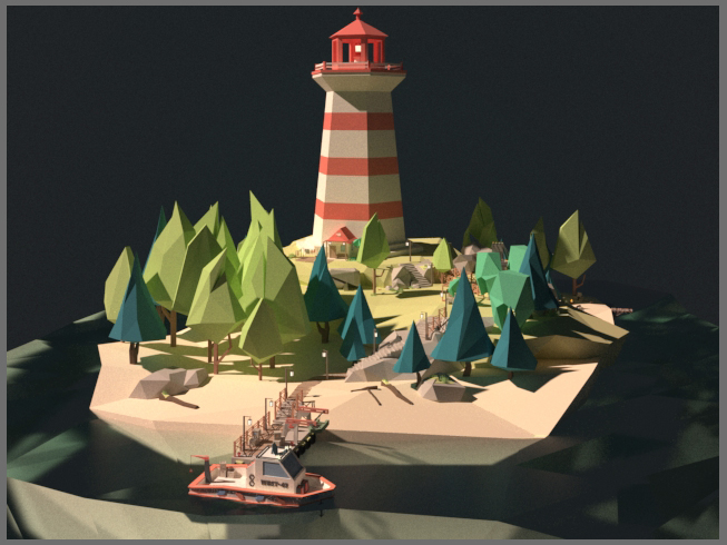 Low Poly Island Lighthouse