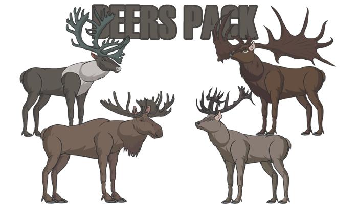 Deers pack(Red Deer, Irish Elk, Moose, Reindeer and more)