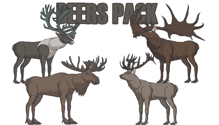 Deers pack(Red Deer, Irish Elk, Moose, Reindeer and more)