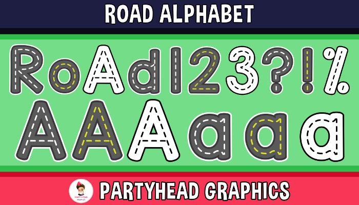 Road Alphabet – Upper-Lower-Numbers-Symbols (Assets For Children´s Games)