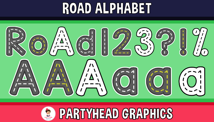 Road Alphabet – Upper-Lower-Numbers-Symbols (Assets For Children´s Games)
