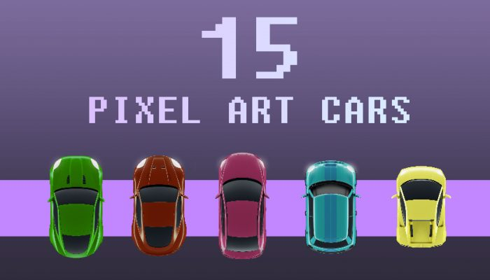 15 Pixel Art Top View Cars