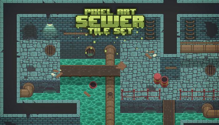 Pixel Art Sewer Tile Set
