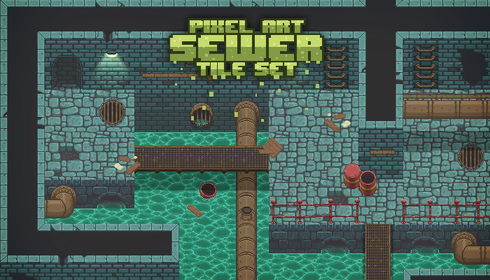Pixel Art Sewer Tile Set