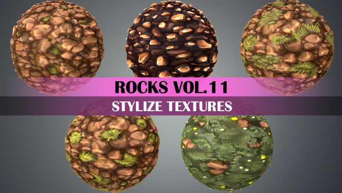 Stylized Rocks Vol.11 – Hand Painted Texture Pack