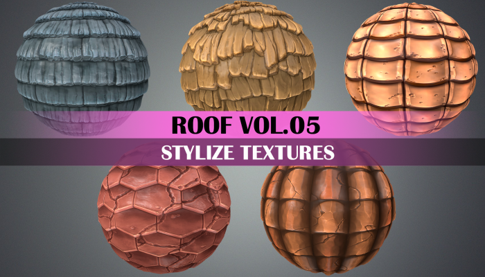 Stylized Roof Tile Vol.05 – Hand Painted Texture Pack