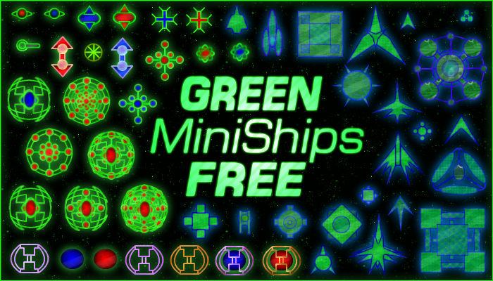 Green MiniShips (FREE 2D Top Down Spaceships)
