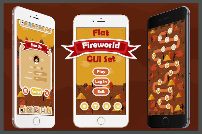 Flat Fireworld GUI Set