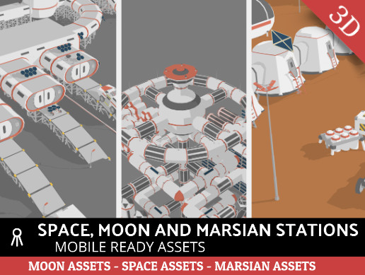 Space, Moon and Mars stations