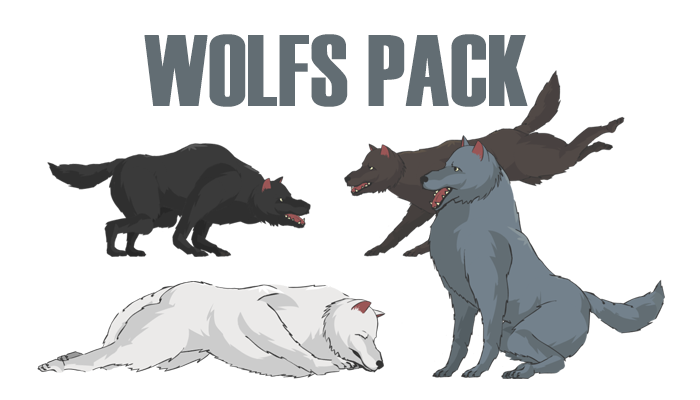Wolf Pack(Black Wolf, Grey Wolf, Brown Wolf, White Wolf)