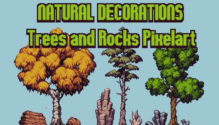 Trees & Rocks – Natural Decorations Pixelart