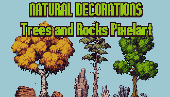 Trees & Rocks – Natural Decorations Pixelart