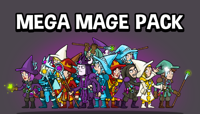 Mega mage 2d game sprite collection