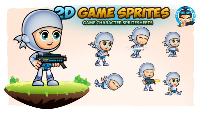 White Girl Ninja 2 Game Character Sprites