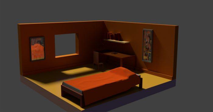 Low Poly Bedroom Design