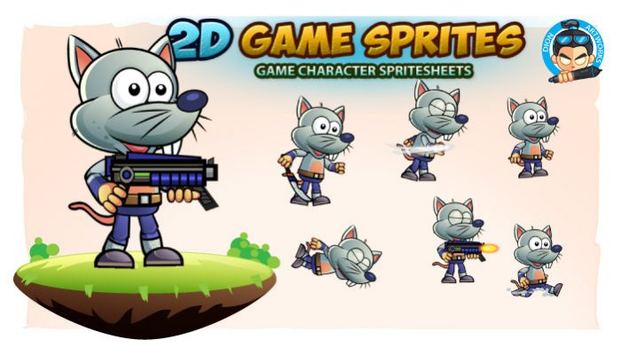 Rat Warrior 2D Game Character Sprites