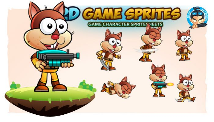 Squirrel Warrior 2D Game Character Sprites