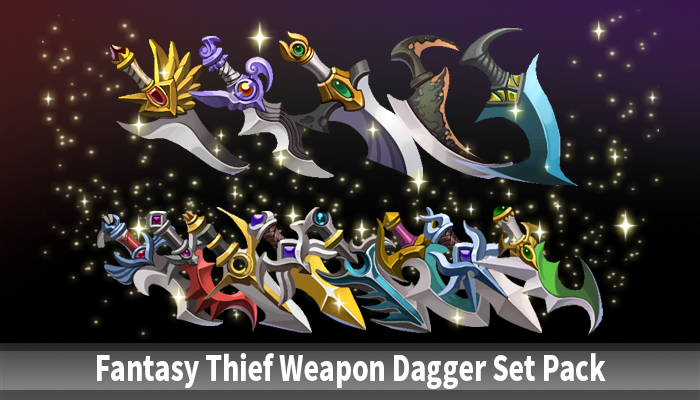 Fantasy Thief Weapon Dagger Set Pack