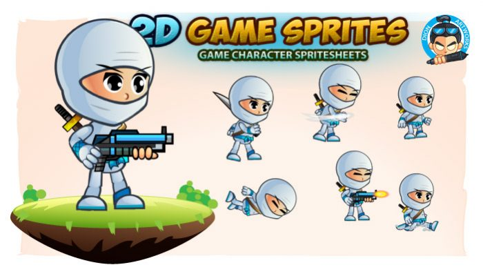 White Girl Ninja 2D Game Character Sprites