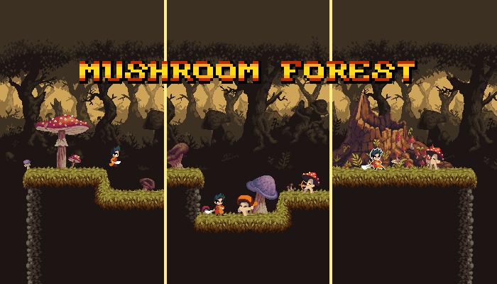 Pixel Art Mushroom Forest Asset Pack