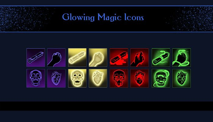 Glowing magic icons