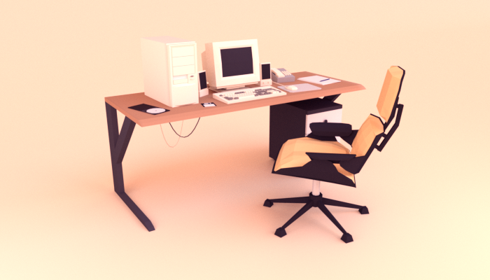 Low poly computer desk