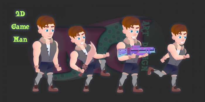 Man 2D Game Character
