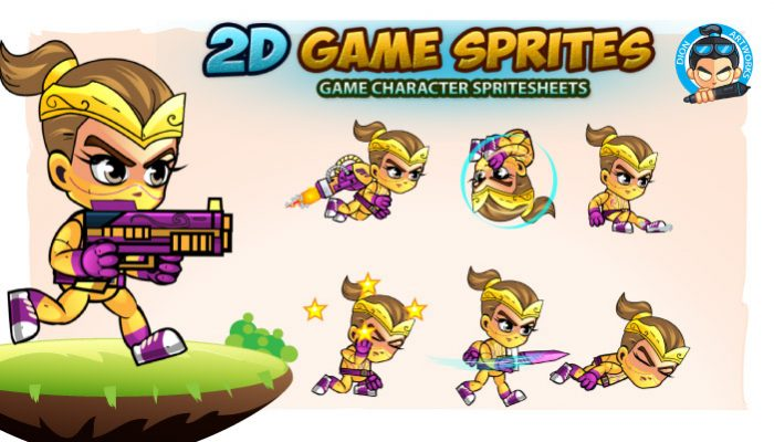 Ninja Girl 2D Game Sprites