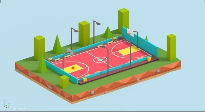 Cartoon Low Poly Basketball Court