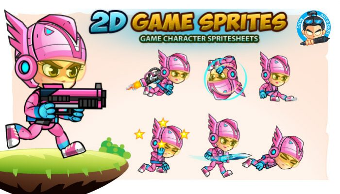 SpaceGirl 2D Game Sprites