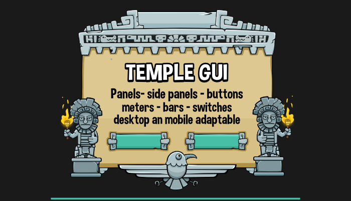 Temple themed game ui