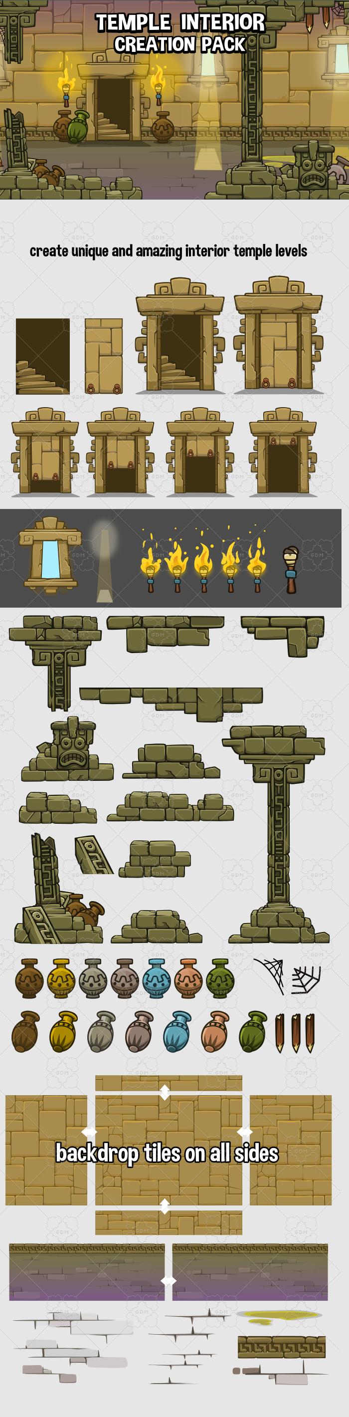 2d temple level interior game asset construction kit