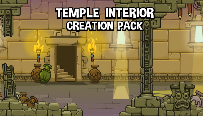 2d temple level interior game asset construction kit