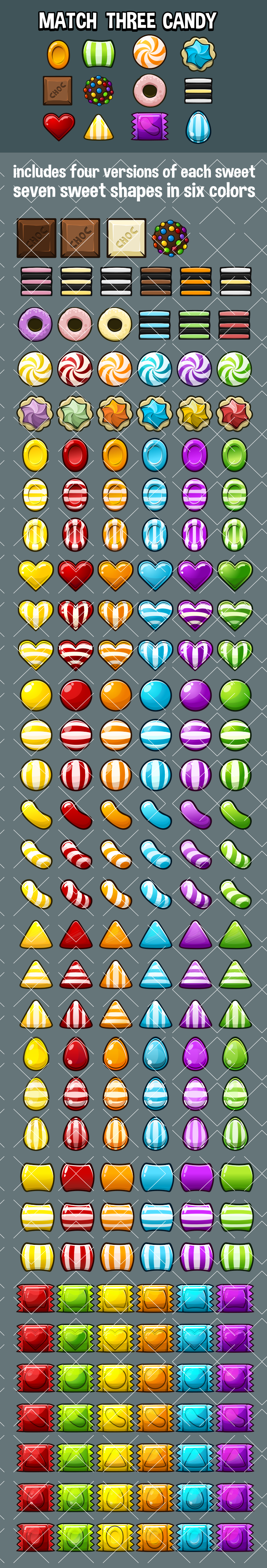 Match three candy game icons