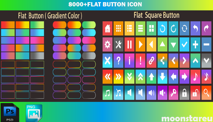 8000+ Flat Button Icons Pack