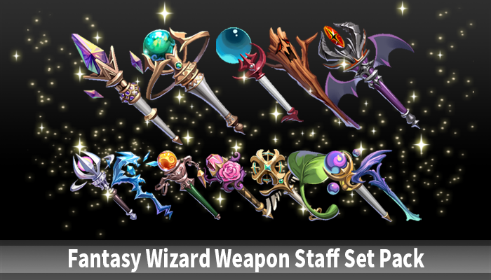Fantasy Wizard Weapon Staff Set Pack