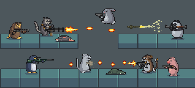 2d Animated pixel fighters