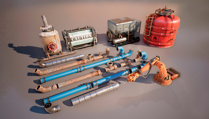 Stylized Industrial Props Set