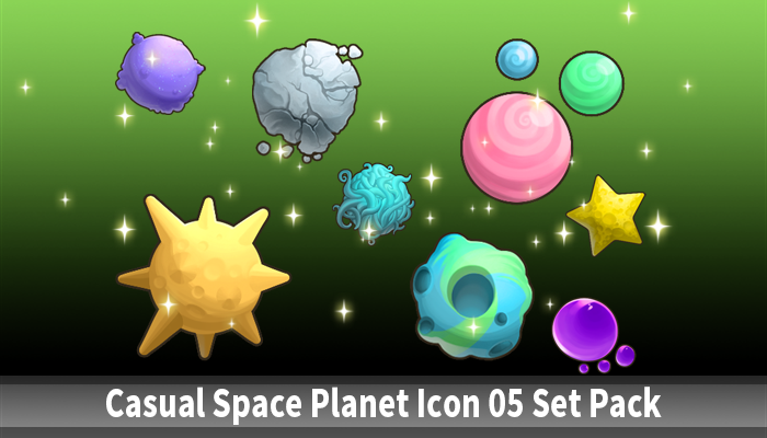 Casual Space Planet Icon 05 Set Pack