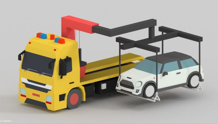 low poly Tow truck