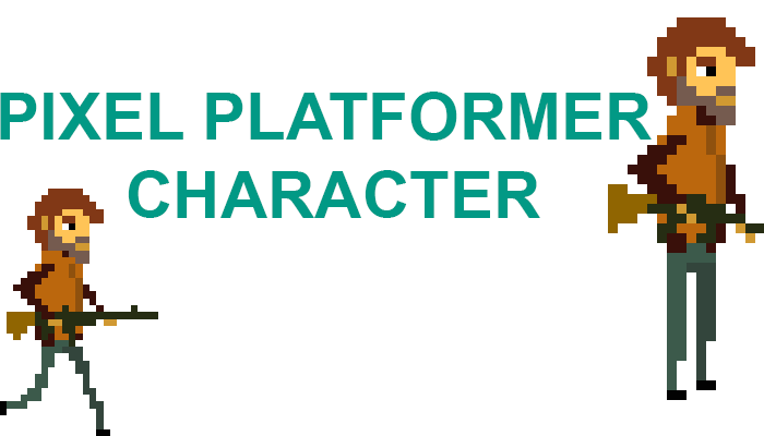 platformer hero character with gun