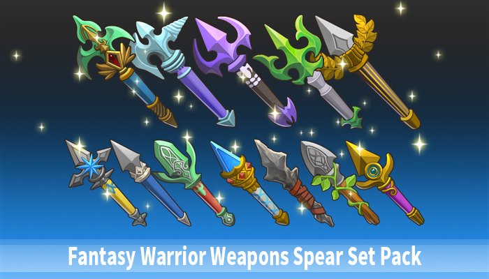 Fantasy Warrior Weapons Spear Set Pack