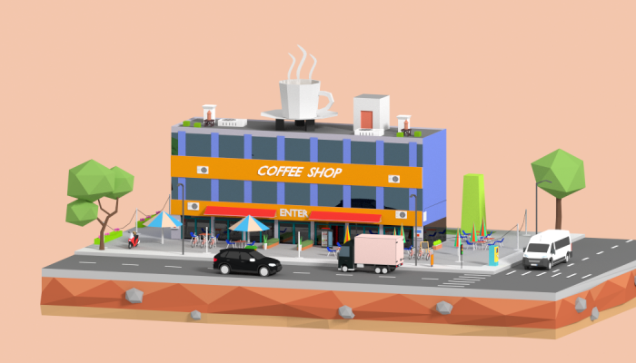 Low Poly Corner Coffee Shop
