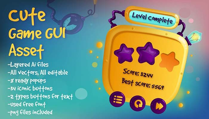 Cute Game GUI Asset