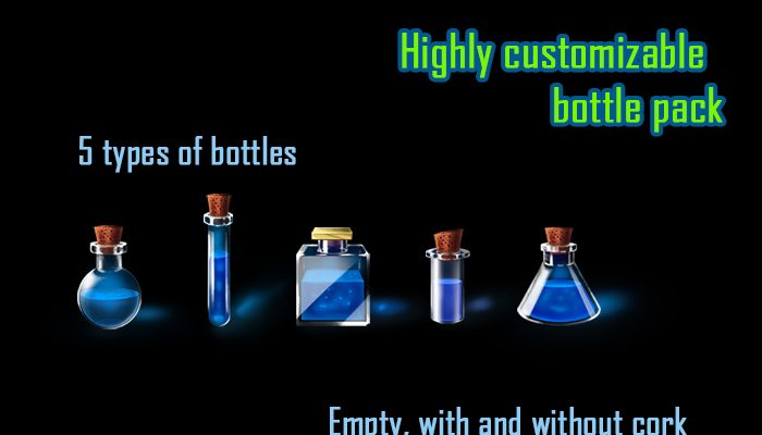 Highly customizable alchemy bottles set