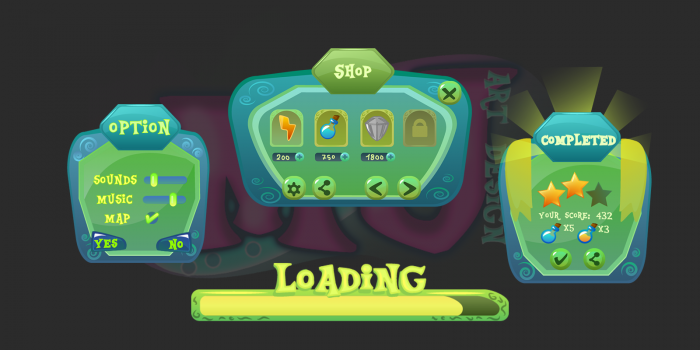 2D Game Green Cartoon GUI