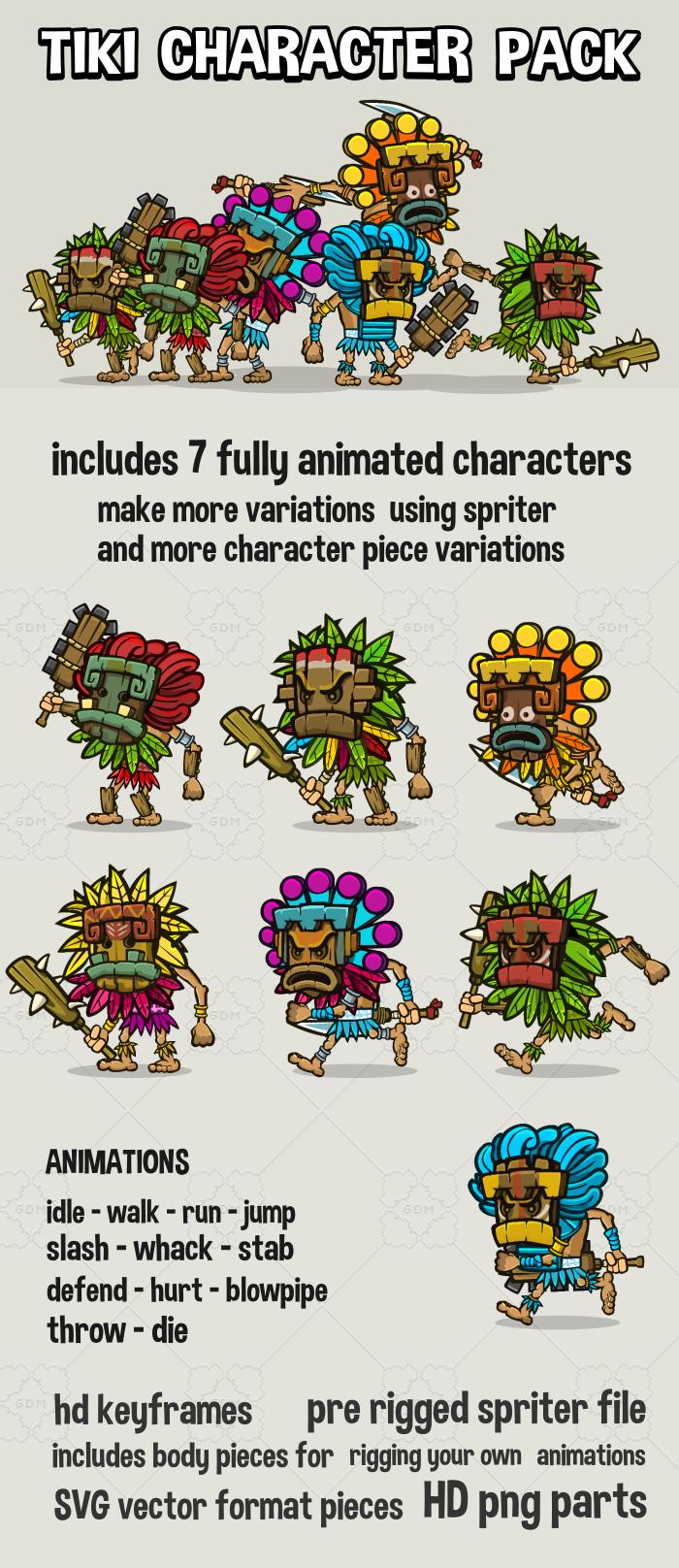 Tiki temple game character mega pack