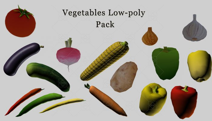 Low-poly vegetables pack