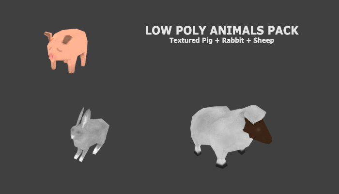 Simple Low Poly Pig / Sheep / Rabbit